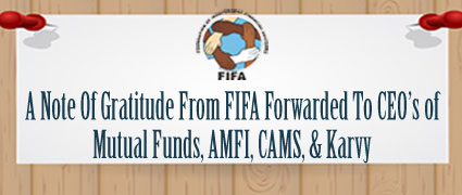 A Note Of Gatitude From FIFA Forwarded To AMFI, CAMS, & Karvy
